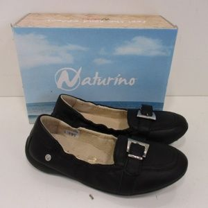 Naturino Girls Black Leather Slip-On Flats Size 13